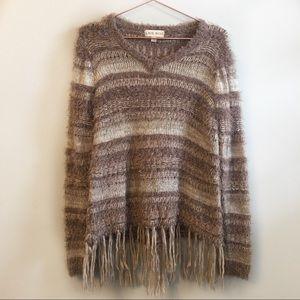 Knox Rose | Fringe striped sweater